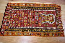 Vintage rug with red and orange tones, 197cm x