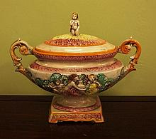 Early Capodimonte floral tureen with raised hand
