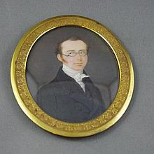 Antique 19th century portrait miniature in ornate