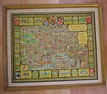 Antique style map of London in gilt frame, 66cm x