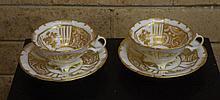 Pair of European porcelain teacup & saucers mid
