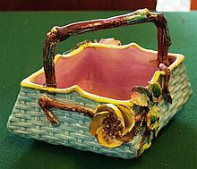 Victorian Majolica basket vase with applied flower