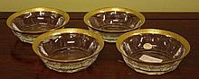Four Moser glass dishes with ornate gilt rim,