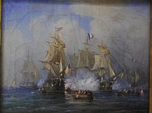 Miniature marine painting Measures 8.75 x 11 cm.