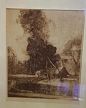 Sydney Long (1871-1955) etching 33.5cm X 27.5cm