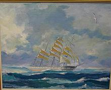 Robert Carter OAM marine Untitled. Oil on board.