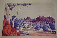 Joshua Ebatarinja (1940-73), watercolour outback