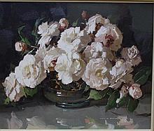 Alan Baker (1914-1987) White Camellias Oil on