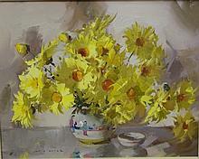 Alan Baker ( 1914-1987) Yellow Daisies Oil on