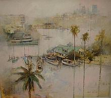 John Lovett (1953-) Bayside Palms Mosman Bay Oil
