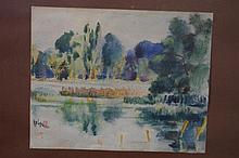 Oriental watercolour Artist unidentified. Measures