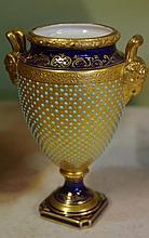 Ornate antique Coalport vase with gilt & enamel