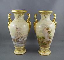 Two hand painted Vienna Porcelain vases 17cm high