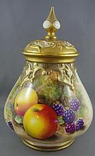 Royal Worcester hand painted pot pouri jar signed
