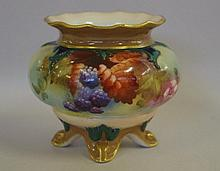 Royal Worcester handpainted vase with leaf & berry