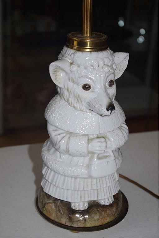 Rare Bohemian porcelain zoomorphic lamp base