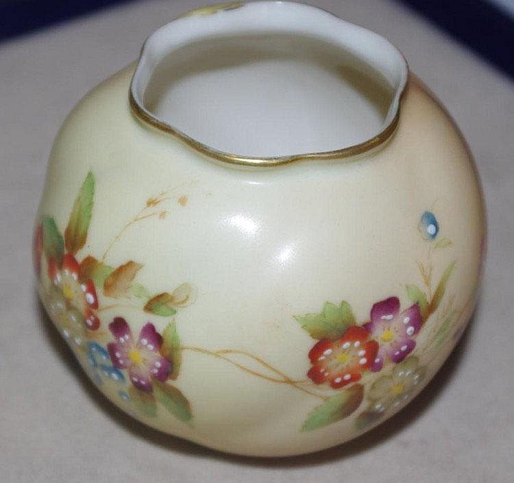 Royal Worcester hand painted ball vase
