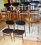 Six Parker dining chairs with black vinyl
