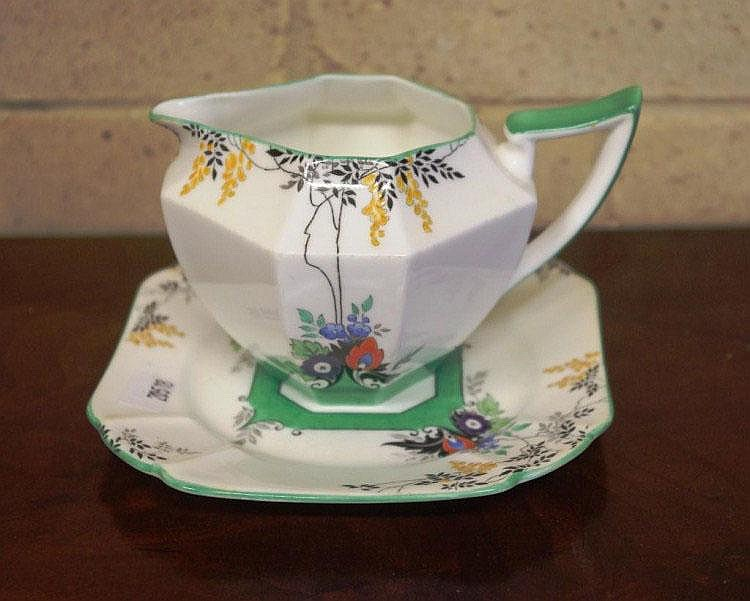 Shelley milk jug and plate Queen Anne shape, Rd