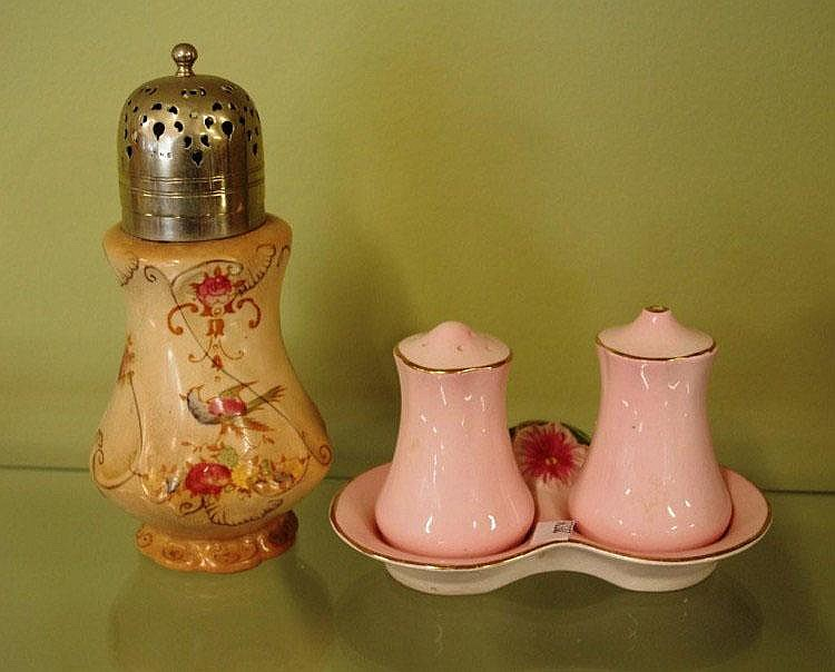 Antique Crown Devon sugar castor & a Royal Winton