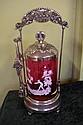 Mary Gregory style pickle jar glass and silver
