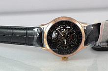 Arbutus hand wind full skeleton watch Model:AR406RBB - Automatic Watch with Skeleton Design, Black, centred Silver & Rose Gold see through Movement. CASE: IIP Rose Gold Stainless Steel Case, (43mm)