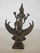 Oriental bronze deity figure group 16cm high