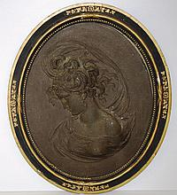 Victorian spelter plaque portrait of a lady 50cm X 42cm approx