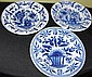 Three old Delft blue and white plates