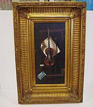Artist unknown, violin 61 x 41cm frame approx. Gilt frame