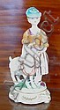 Meissen figurine of a lady and goat 22cm high