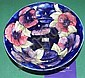 Signed Moorcroft pansy footed bowl -diameter