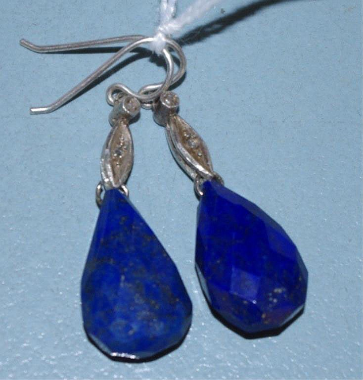 Pair of Lapis Lazuli & silver & diamond drop