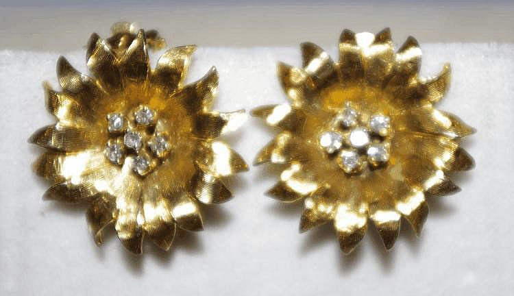14ct gold and diamond clip-on flower earrings