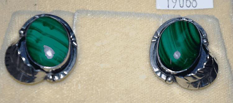 Pair of silver & malachite earrings