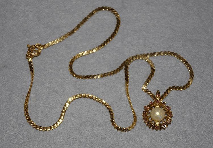 14ct gold chain with ruby and pearl pendant Total