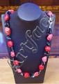 Onyx, coral & howlite necklace with silver clasp