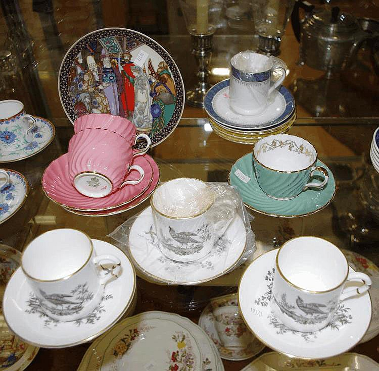 Seven English bone china cup & saucer sets 3 Royal