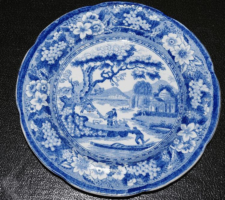 Staffordshire blue & white transferware side plate