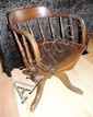 Vintage oak swivel desk chair tub chair with