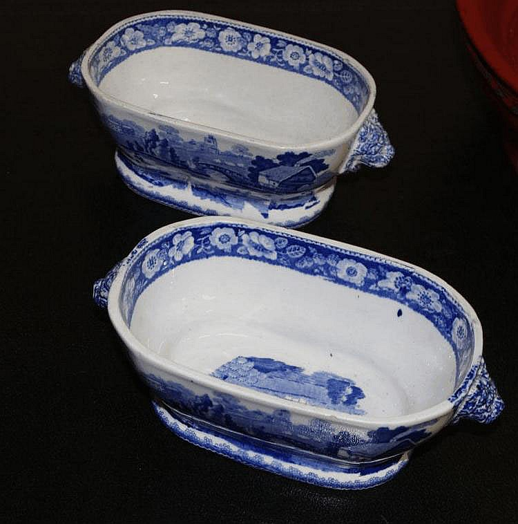 Two Staffordshire blue and white sauce bowls