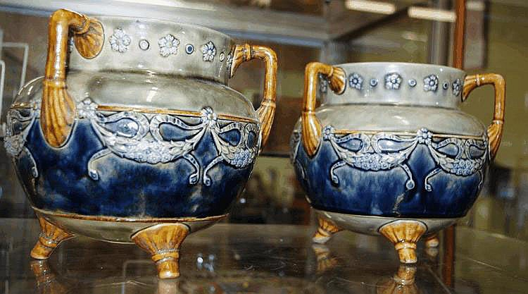 Pair of Good Doulton Stoneware Cauldrons Height