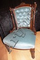 Late Victorian salon chair with deep buttoned blue