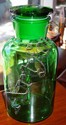 Large green glass lidded jar Approx 36cm height