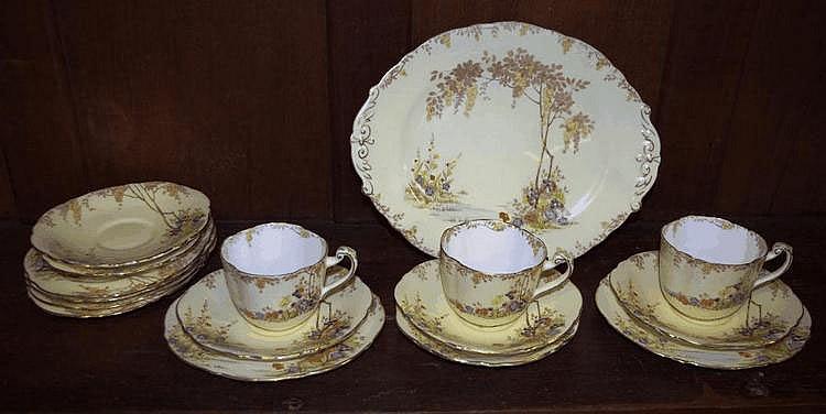 Three Paragon deco trios cake plate and extras