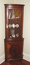 Antique style mahogany corner cabinet with glazed