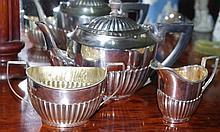 Three piece sterling silver Edwardian tea service
