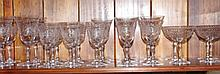 Large suite of etched drinking glasses