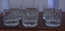 6 English whisky glasses marked