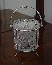 Victorian silver plated & cut glass biscuit barrel